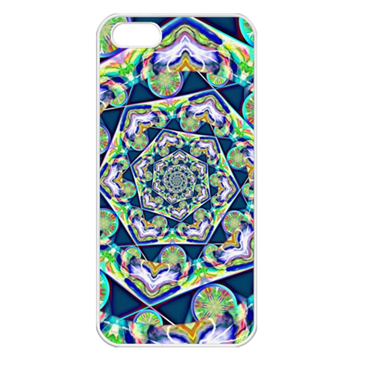 Power Spiral Polygon Blue Green White Apple iPhone 5 Seamless Case (White)