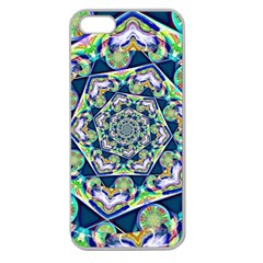Power Spiral Polygon Blue Green White Apple Seamless iPhone 5 Case (Clear)