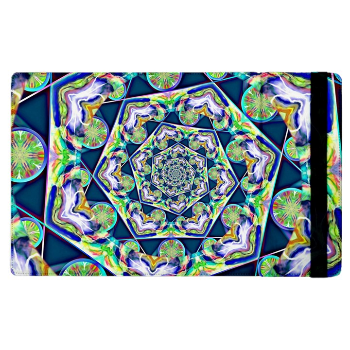 Power Spiral Polygon Blue Green White Apple iPad 3/4 Flip Case