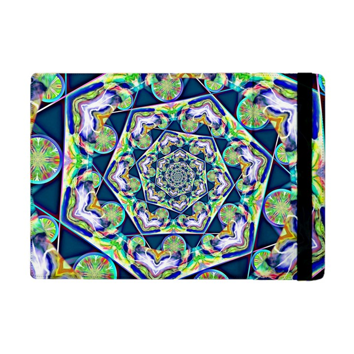 Power Spiral Polygon Blue Green White Apple iPad Mini Flip Case
