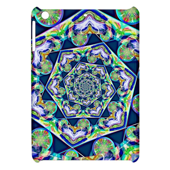 Power Spiral Polygon Blue Green White Apple iPad Mini Hardshell Case