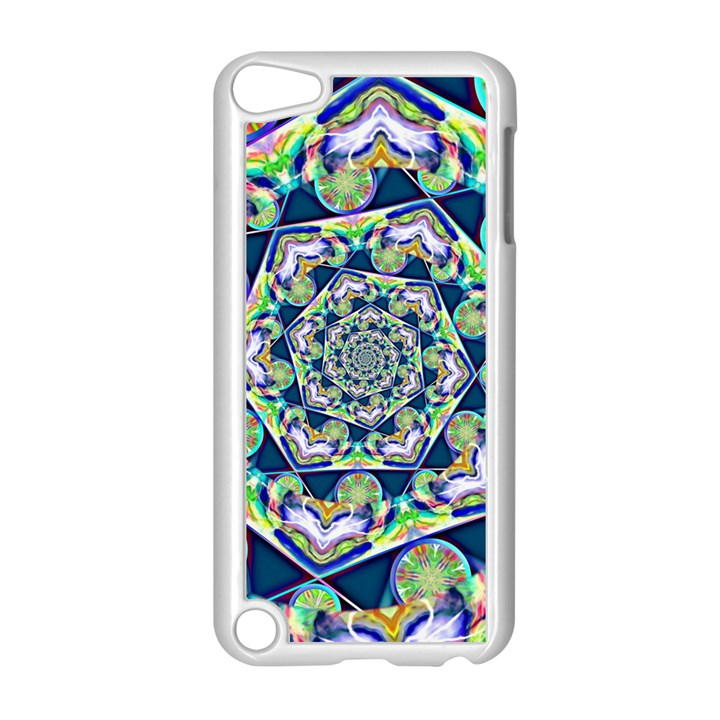 Power Spiral Polygon Blue Green White Apple iPod Touch 5 Case (White)