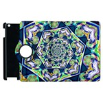 Power Spiral Polygon Blue Green White Apple iPad 2 Flip 360 Case Front