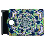 Power Spiral Polygon Blue Green White Apple iPad 3/4 Flip 360 Case Front