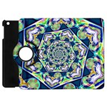 Power Spiral Polygon Blue Green White Apple iPad Mini Flip 360 Case Front