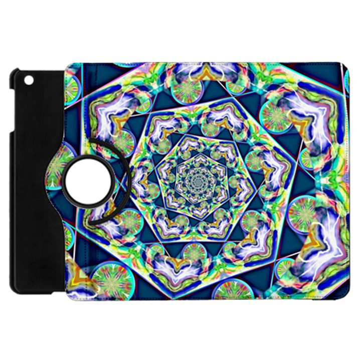 Power Spiral Polygon Blue Green White Apple iPad Mini Flip 360 Case