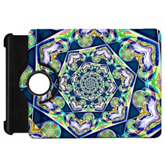 Power Spiral Polygon Blue Green White Kindle Fire HD Flip 360 Case