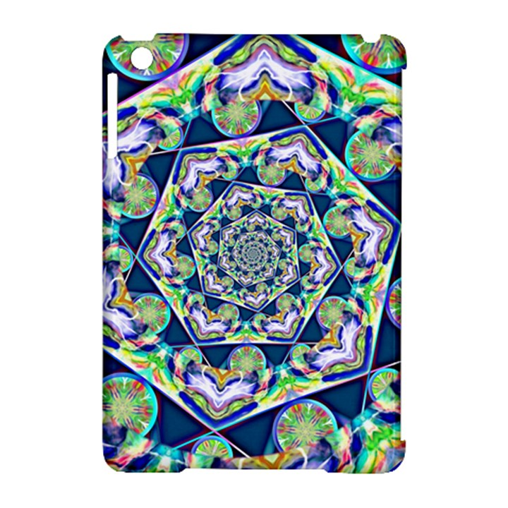 Power Spiral Polygon Blue Green White Apple iPad Mini Hardshell Case (Compatible with Smart Cover)