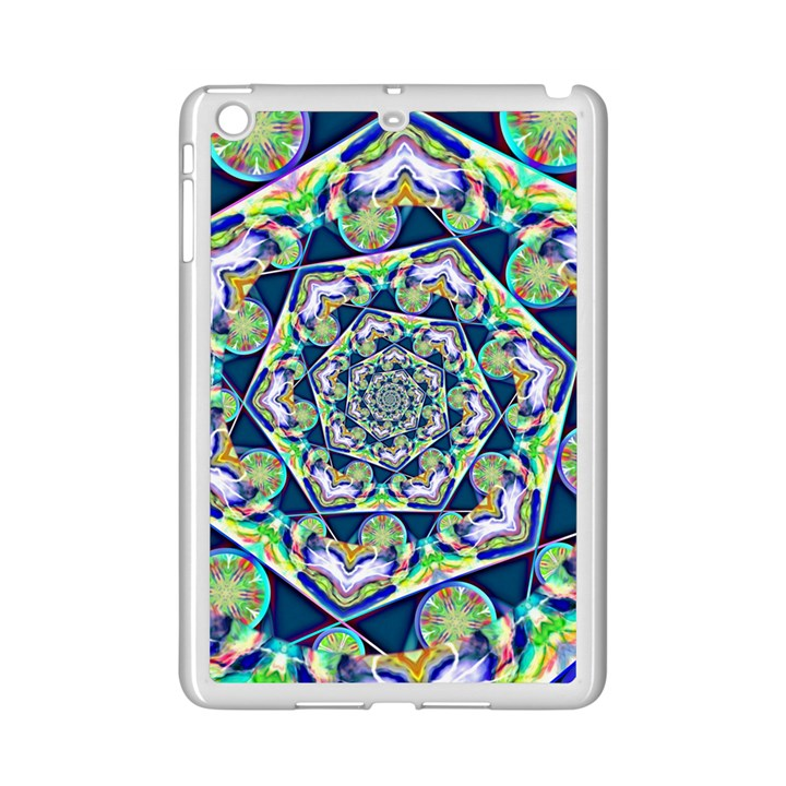 Power Spiral Polygon Blue Green White iPad Mini 2 Enamel Coated Cases