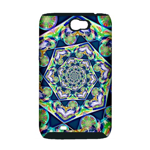 Power Spiral Polygon Blue Green White Samsung Galaxy Note 2 Hardshell Case (PC+Silicone)
