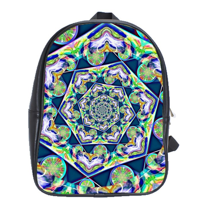 Power Spiral Polygon Blue Green White School Bags (XL)