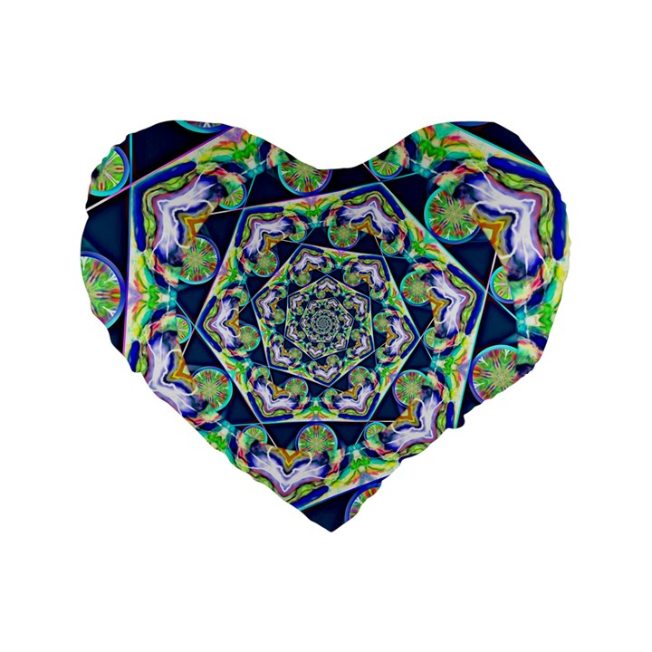 Power Spiral Polygon Blue Green White Standard 16  Premium Heart Shape Cushions