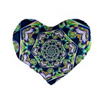 Power Spiral Polygon Blue Green White Standard 16  Premium Heart Shape Cushions Back