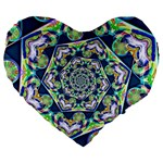 Power Spiral Polygon Blue Green White Large 19  Premium Heart Shape Cushions Front