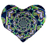 Power Spiral Polygon Blue Green White Large 19  Premium Heart Shape Cushions Back