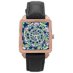 Power Spiral Polygon Blue Green White Rose Gold Leather Watch