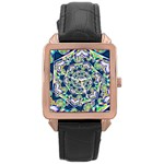 Power Spiral Polygon Blue Green White Rose Gold Leather Watch  Front