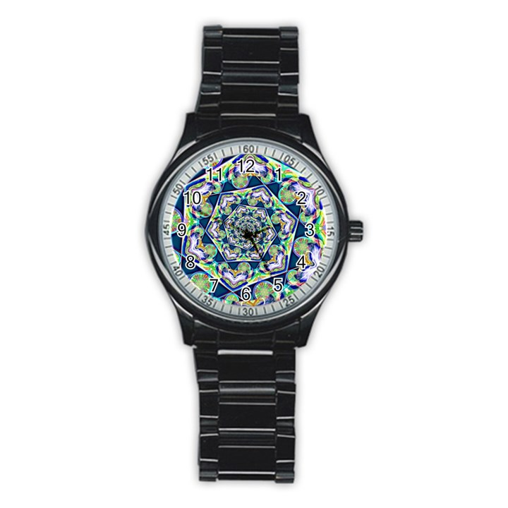 Power Spiral Polygon Blue Green White Stainless Steel Round Watch