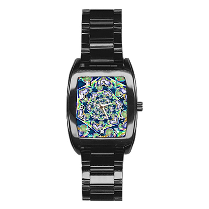 Power Spiral Polygon Blue Green White Stainless Steel Barrel Watch
