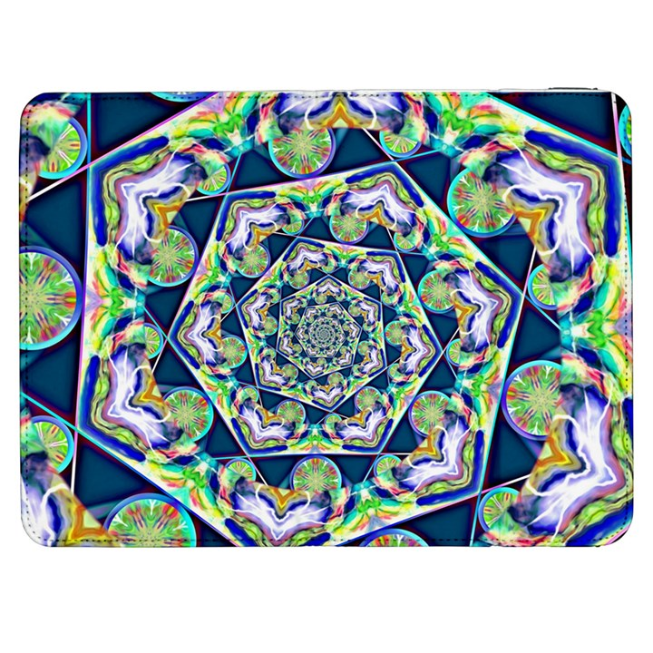 Power Spiral Polygon Blue Green White Samsung Galaxy Tab 7  P1000 Flip Case