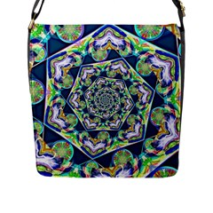 Power Spiral Polygon Blue Green White Flap Messenger Bag (L)