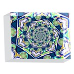 Power Spiral Polygon Blue Green White 5 x 7  Acrylic Photo Blocks Front