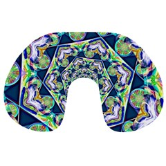Power Spiral Polygon Blue Green White Travel Neck Pillows