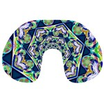 Power Spiral Polygon Blue Green White Travel Neck Pillows Back