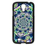 Power Spiral Polygon Blue Green White Samsung Galaxy S4 I9500/ I9505 Case (Black) Front
