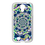 Power Spiral Polygon Blue Green White Samsung GALAXY S4 I9500/ I9505 Case (White) Front
