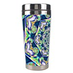 Power Spiral Polygon Blue Green White Stainless Steel Travel Tumblers Left