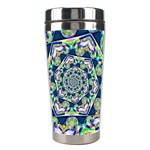 Power Spiral Polygon Blue Green White Stainless Steel Travel Tumblers Center