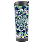 Power Spiral Polygon Blue Green White Travel Tumbler Center