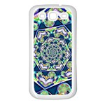 Power Spiral Polygon Blue Green White Samsung Galaxy S3 Back Case (White) Front