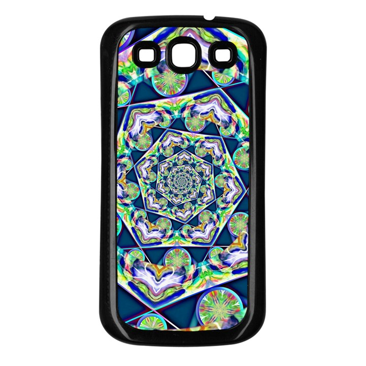 Power Spiral Polygon Blue Green White Samsung Galaxy S3 Back Case (Black)
