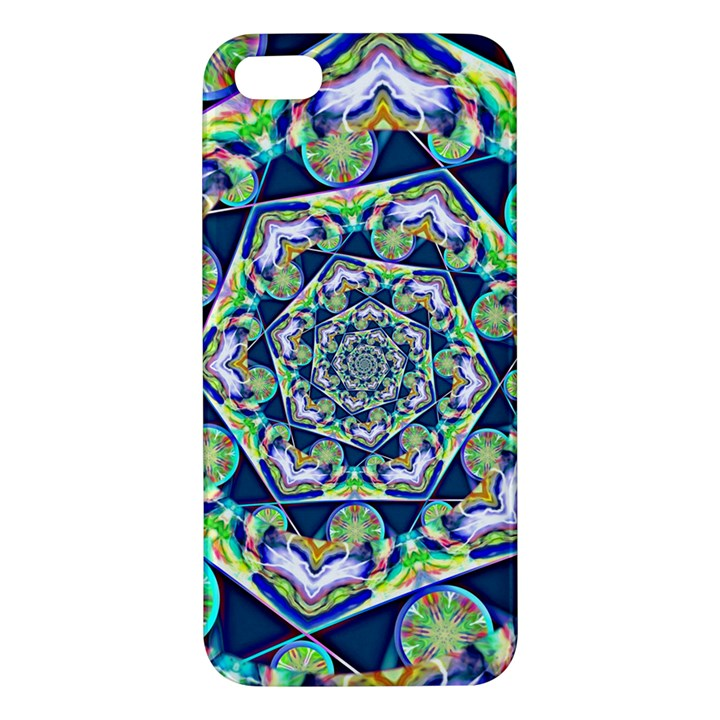 Power Spiral Polygon Blue Green White iPhone 5S/ SE Premium Hardshell Case