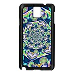 Power Spiral Polygon Blue Green White Samsung Galaxy Note 3 N9005 Case (Black) Front