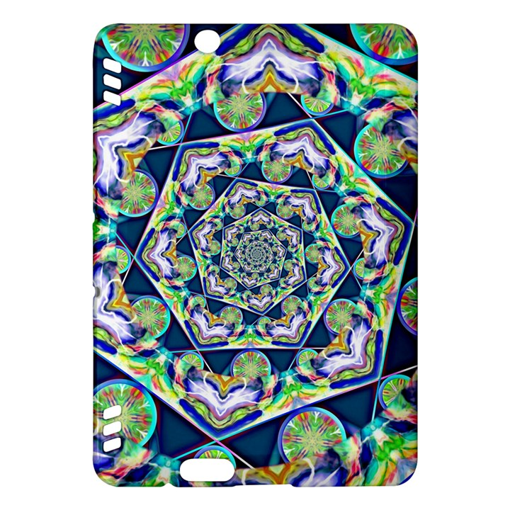 Power Spiral Polygon Blue Green White Kindle Fire HDX Hardshell Case