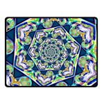 Power Spiral Polygon Blue Green White Double Sided Fleece Blanket (Small)  50 x40 Blanket Front