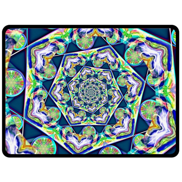 Power Spiral Polygon Blue Green White Double Sided Fleece Blanket (Large)