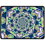 Power Spiral Polygon Blue Green White Double Sided Fleece Blanket (Large)  80 x60 Blanket Back