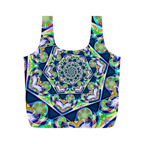 Power Spiral Polygon Blue Green White Full Print Recycle Bags (M)