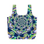 Power Spiral Polygon Blue Green White Full Print Recycle Bags (M)  Back