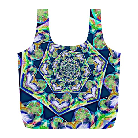 Power Spiral Polygon Blue Green White Full Print Recycle Bags (L)