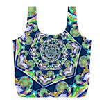 Power Spiral Polygon Blue Green White Full Print Recycle Bags (L)  Back