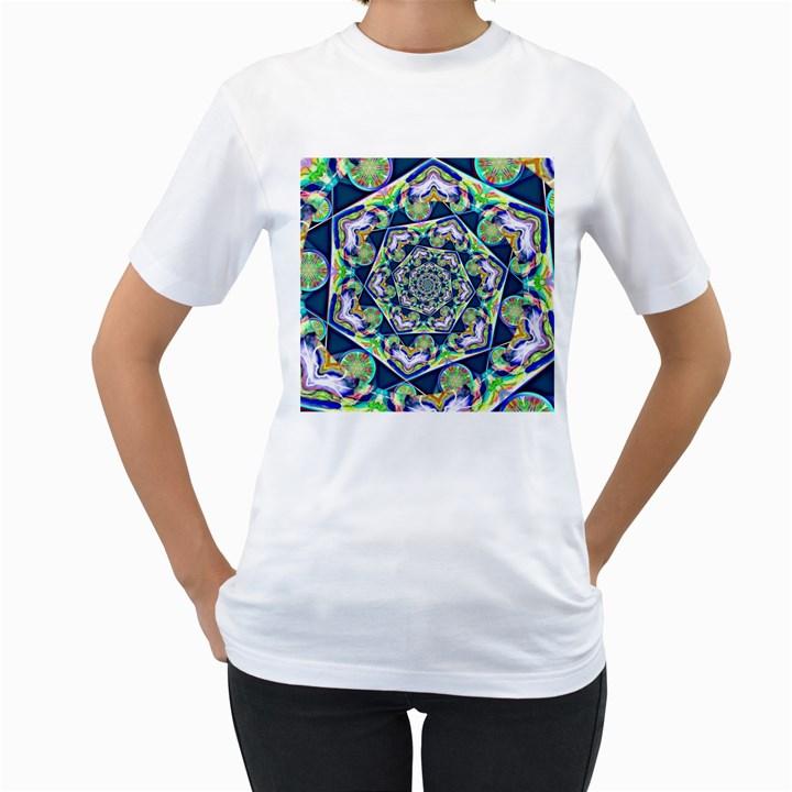 Power Spiral Polygon Blue Green White Women s T-Shirt (White)