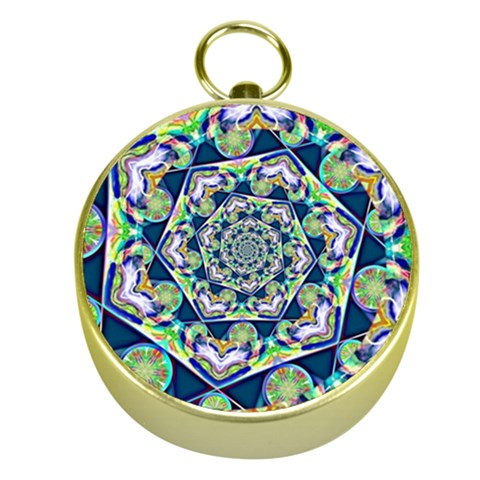 Power Spiral Polygon Blue Green White Gold Compasses