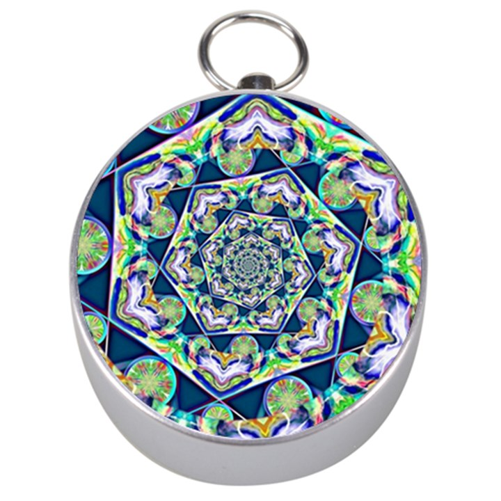 Power Spiral Polygon Blue Green White Silver Compasses