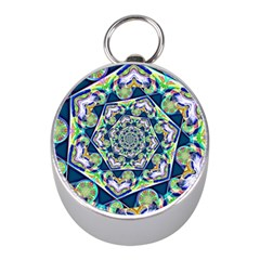 Power Spiral Polygon Blue Green White Mini Silver Compasses