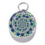 Power Spiral Polygon Blue Green White Mini Silver Compasses Front